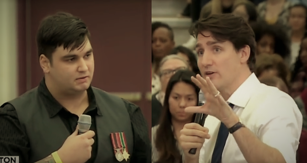 Canadian Veteran Brock Blaszczyk Confronts Trudeau